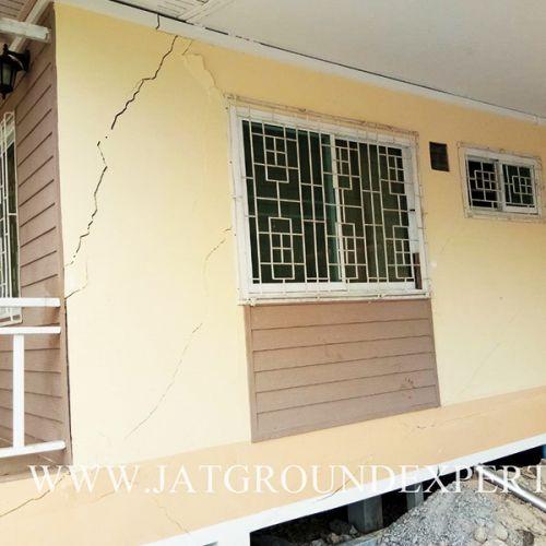 งานเสริมเสาเข็ม แก้ปัญหาโครงสร้างฐานแผ่ทรุดตัว อาคารบ้านพักจังหวัดนครนายก